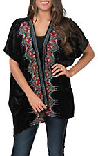April Sky Women's Black Velvet with Floral Embroidered Kimono