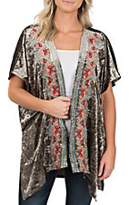 April Sky Women's Olive Velvet with Floral Embroidered Kimono