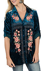 April Sky Women's Blue Velvet with Floral Embroidery Long Sleeve Fashion Top