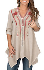 April Sky Women's Taupe with Red and Grey Embroidery Long Tabbed Sleeves Fashion Top