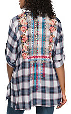 Andree Women's Navy and Pink Plaid with Embroidery Fashion Shirt