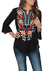April Sky Women's Black with Multi-Floral Embroidery 3/4 Bell Sleeve Fashion Top