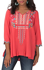 April Sky Women's Red Embroidered Tunic with Scallop Sleeves Fashion Top