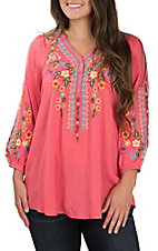 April Sky Women's Coral with Multi Floral Embroidery V Button Next Long Sleeve Fashion Top