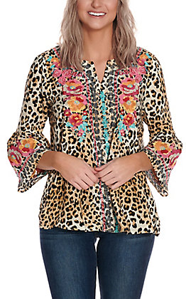Savanna Jane Women's Leopard Print with Floral Embroidery 3/4 Bell Sleeve Fashion Top