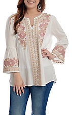 April Sky Women's White with Taupe and Pink Floral Embroidery 3/4 Bell Sleeve Fashion Top