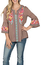 April Sky Women's Mocha  with Multi-Floral Embroidery 3/4 Bell Sleeve Fashion Top -