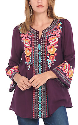 April Sky Women's Plum Floral Embroidery 3/4 Bell Sleeve Fashion Top