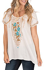 April Sky Women's Ivory Embroidered Short Sleeve Top