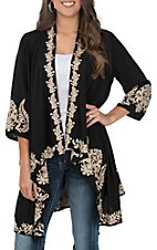 April Sky Women's Black and Taupe Embroidered Kimono