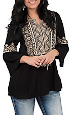 April Sky Women's Black with Taupe Embroidery 3/4 Bell Sleeve Fashion Top