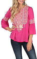 April Sky Women's Fuchsia Taupe Embroidered Fashion Top