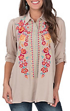 April Sky Women's taupe with Multi Floral Embroidery Button Down Long Sleeve Fashion Top