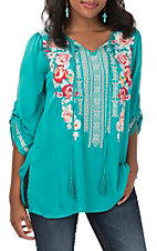 April Sky Women's Jade Embroidered Tie Neck Fashion Top
