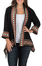 April Sky Women's Black Multicolored Embroidered Kimono