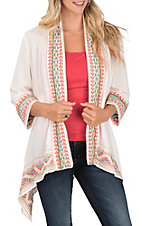 April Sky Women's Ivory Multicolored Embroidered Kimono