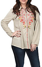 Andree Women's Taupe with Multi Floral Embroidery Button Down Long Sleeve Fashion Top