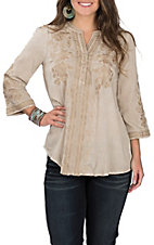 April Sky Women's Taupe with Tonal Embroidery 3/4 Sleeve Fashion Top