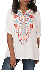 April Sky Women's Ivory with Embroidered & Lace Detail Fashion Top