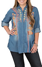 Andree Women's Denim Multi Colored Floral Embroidery L/S Fashion Shirt
