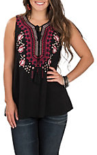 April Sky Women's Black with Pink and Navy Floral Embroidery Sleeveless Fashion Tank Top