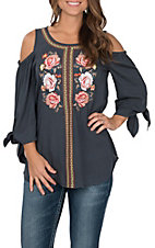 April Sky Women's Blue with Floral Embroidery Cold Shoulder 3/4 Tie Sleeve Fashion Top