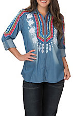 Andree Women's Multi Serape Embroidered Long Sleeve Denim Shirt Fashion Western Shirt