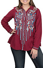 Andree Women's Burgundy and Blue Floral Fashion Top