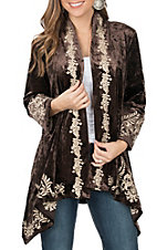 April Sky Women's Chocolate Velvet with Cream Embroidery Long Sleeve Kimono Cardigan