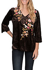 April Sky Women's Chocolate with Floral Embroidery 3/4 Sleeves V-Neck Fashion Top