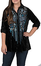 April Sky Women's Black Velvet with Blue Floral Embroidery Button Down Long Sleeve Fashion Top