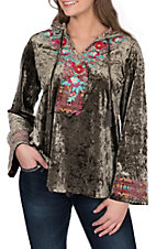 April Sky Women's Olive Velvet with Floral Embroidered V-Neck Hoodie