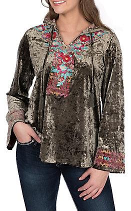 April Sky Women's Olive Velvet with Floral Embroidered V-Neck Hoodie