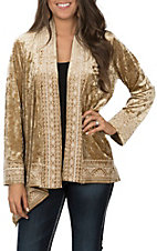 Andree Women's Mustard Velvet with Cream Embroidery Long Sleeve Kimono Cardigan