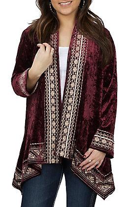 Andree Women's Wine Velvet with Cream Embroidery Long Sleeve Kimono Cardigan