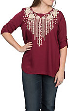 Andree Women's Long Sleeve Burgundy Embroidered Top
