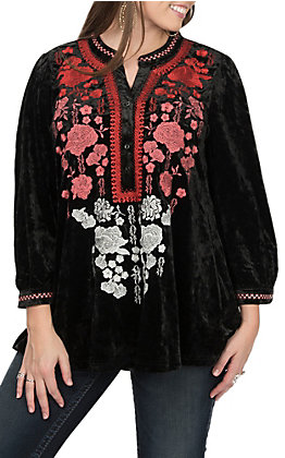 April Sky Women's Black with Floral Embroidery Long Sleeves V-Neck Fashion Top