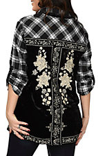 April Sky Women's Black Plaid & Velvet Embroidery Top