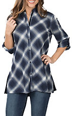 April Sky Women's Navy Blue Plaid & Velvet Embroidery Back Top