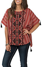 Andree Women's Rust Serape and Black Floral Poncho