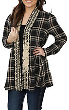 Andree Women's Black Plaid Embroidered Kimono