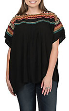 Andree Women's Black Short Sleeve Multicolored Fashion Top
