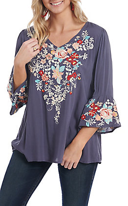 April Sky Women's Navy Floral Embroidery 3/4 Bell Sleeve Fashion Top