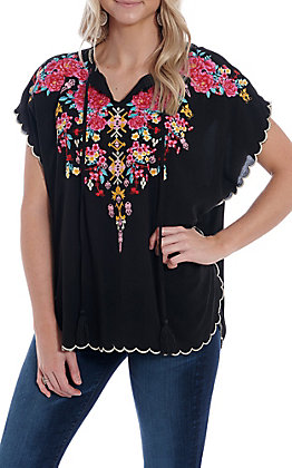 April Sky Women's Black Floral Embroidered Scalloped Fashion Top