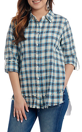April Sky Women's Blue Plaid with Aztec Floral Back Embroidery Long Sleeve - 3/4 Tabbed Sleeve Button Down Fashion Top