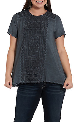 April Sky Women's Charcoal Embroidered Short Sleeve Fashion Top