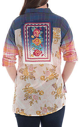April Sky Women's Ombre Plaid With Floral Patch Button Down Fashion Top