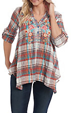 April Sky Women's Plaid Floral with Chiffon Back Long Sleeve Fashion Top