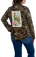 April Sky Camo with Cactus Patch Back Long Sleeve Fashion Top