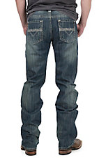 Rock & Roll Cowboy Men's Medium Vintage Wash Raised Denim Abstract V Embroidery Pistol Regular Fit Straight Leg Jean